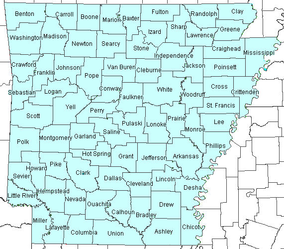 Map of Arkansas Genealogical County Links
