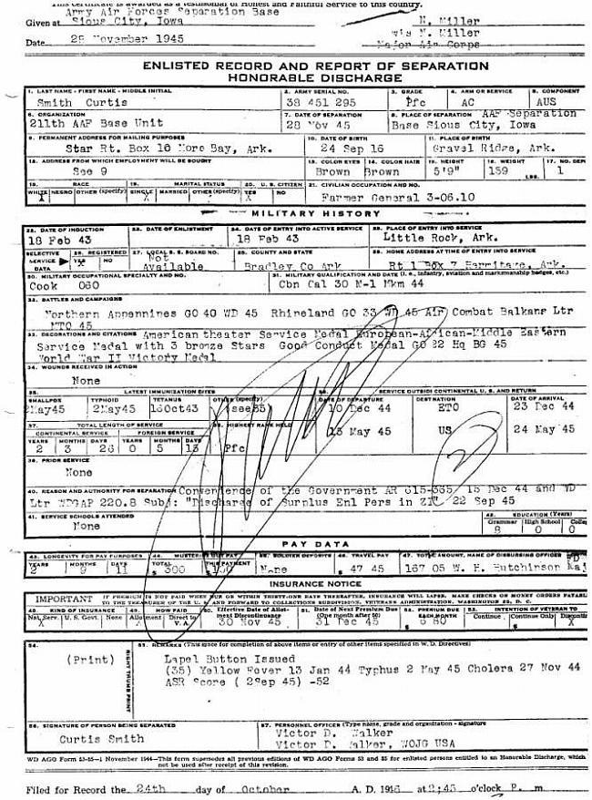Bradley County Arkansas Military Curtis Willard Smith Sr Wwii