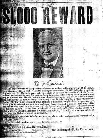 Greene County, Arkansas - O F  Calvin Wanted Poster