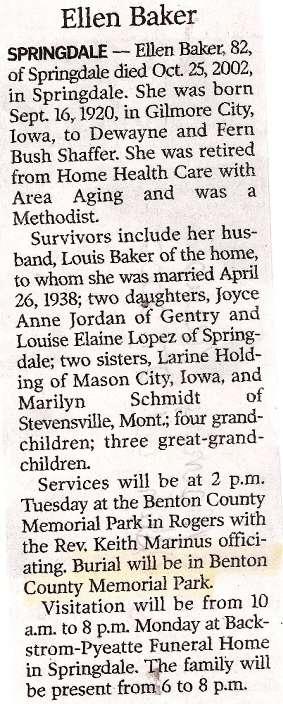 Benton Obituaries, B Names